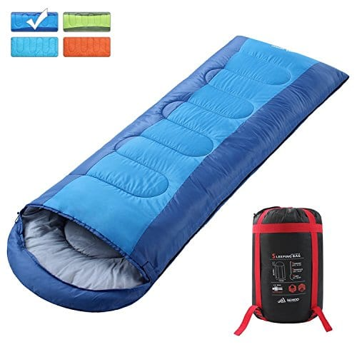 KingCamp Envelope Sleeping Bag 3 Season Lightweight Comfort Portable Great for Adults Kids Camping Backpack Hiking with Compression Sack Extreme Temp Rating 26F//-3C