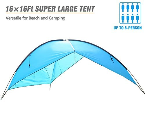 Oileus Super Big Canopy Tent With Sand Bags Easy Up Beach Tent Sun Shelter And Lightweight Sun Shade Tarp For Camping Family Picnic Waterproof And Windproof Blue 16 16ft Adventuregeardeals Com